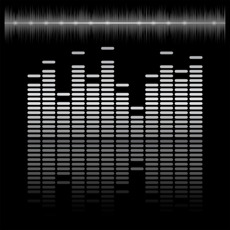 soundtrack: Equalizer bar with reflection and sound chart, 2d vector on dark background, black and white colors