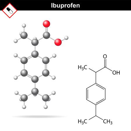 analgesic: Ibuprofen molecular structure and chemical formula, analgesic drug 3d & 2d illustration isolated on white background, balls & sticks, skeletal style, vector Illustration