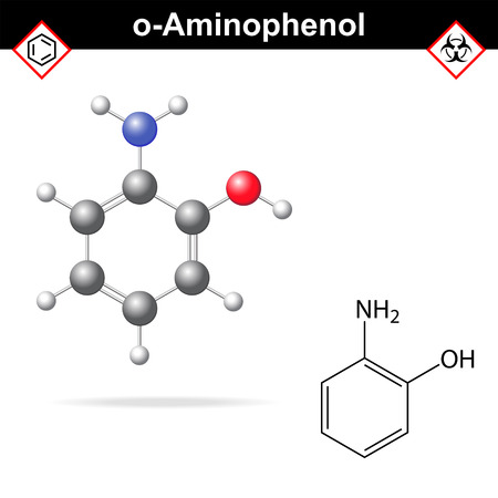colorant: Ortho aminophenol chemical structure and model, 2d and 3d vector illustration, eps 8