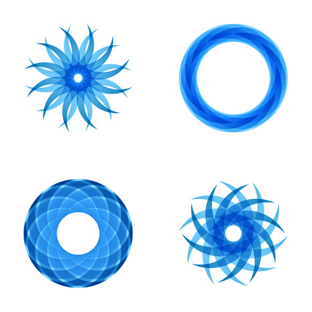 blue arrow: Four abstract segmented radial patterns, blue color, flower and circle shapes, 2d mosaic vector illustration.