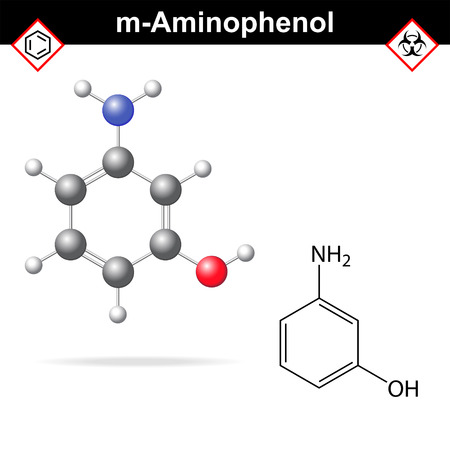 benzene: Meta aminophenol chemical structure and model, 2d and 3d vector illustration