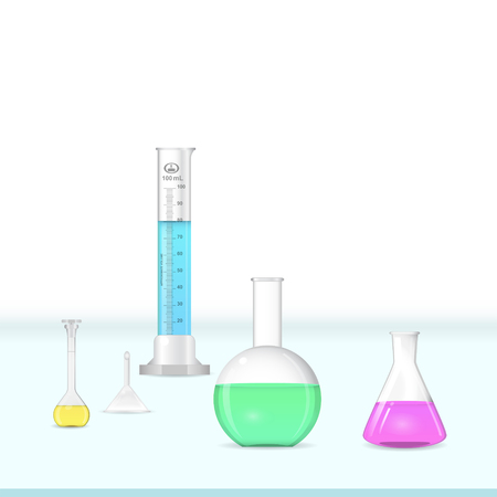 volumetric flask: Chemical lab glassware kit on working table, laboratory equipment, 3d illustration, vector Illustration