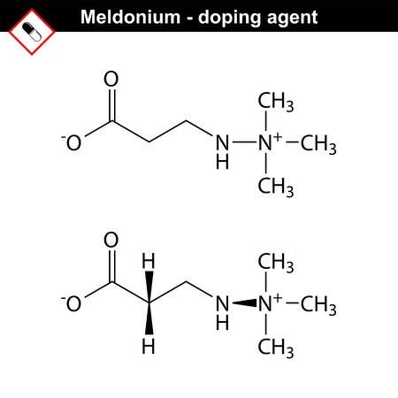 modulator: Molecular structure of meldonium drug, cardioprotector substance, forbidden doping agent, 2d structures, vector