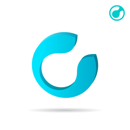 c clamp: C letter circular sign, 2d and 3d icons on white background, vector illustration Illustration