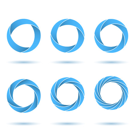 circul: Segmented circles abstract figures, o letter signs, 2d illustration, vector illustration Illustration