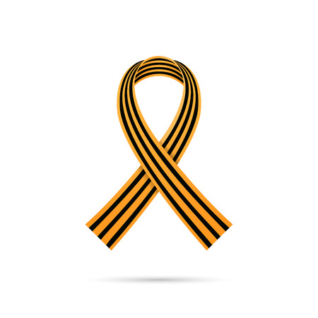 striped band: St. George ribbon on white background, 9 may victory day symbol, vector illustration