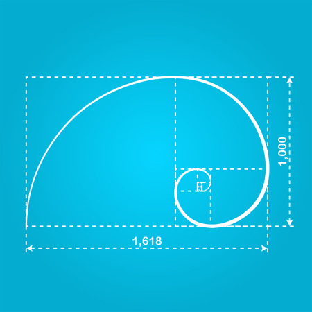 Golden section figure, 2d illustration of ideal proportion, vector Ilustrace