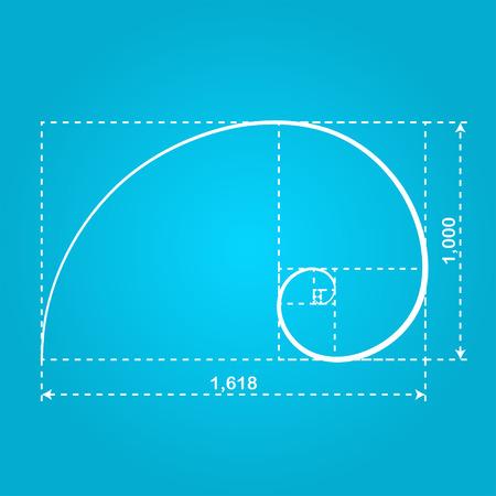 fibonacci number: Golden section figure, 2d illustration of ideal proportion, vector Illustration