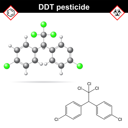 herbicide: DDT molecules, 2d and 3d illustrations, vector on white background