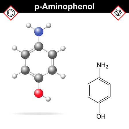 chemical structure: Para aminophenol chemical structure and model