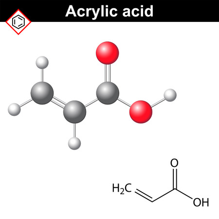 electrolyte: Acrylic acid molecule, 2d and 3d illustration of molecular structure