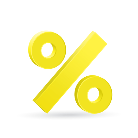 stagnation: Percent sign, neutral rate, ecomomic stagnation concept Illustration