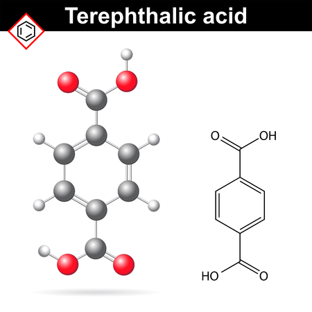 monomer: Terephthalic acid formula and chemical model, 2d and 3d illustration of molecular structure, lab