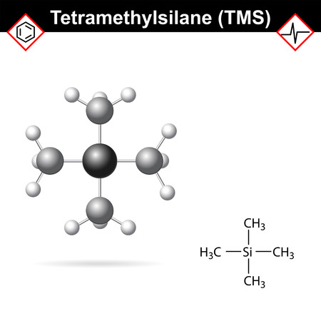 Tetramethylsilane - TMS structure, internal standard for proton magnetic resonance analysis, 2d and 3d illustration
