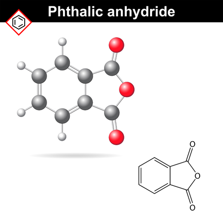 Phthalic anhydride molecule, 2d and 3d illustration isolated on white background Illustration