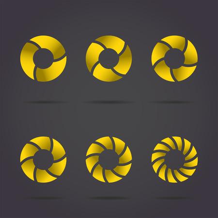 discs: Segmented circles on dark background, gold discs set, 2d illustration Illustration