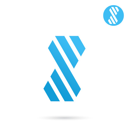 ideogram: Striped s letter sign, 2d template, infinity vector concept Illustration