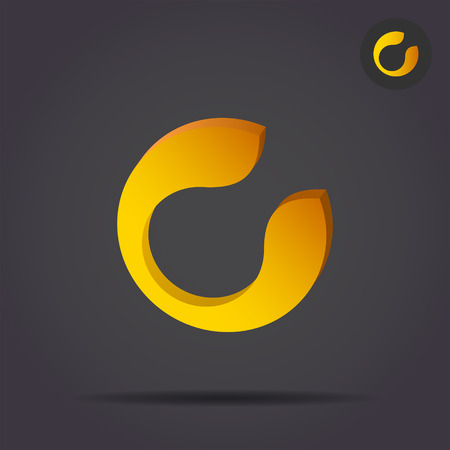 C letter circular icon, 2d and 3d illustration, vector signs on dark background Illustration