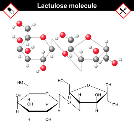 osmotic: Lactulose molecular structure, stereoisomer of lactose, medical drug, 2d and 3d vector illustration