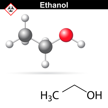structural: Ethanoll molecule - structural chemical formula and model, 2d and 3d vector illustration, isolated on white background