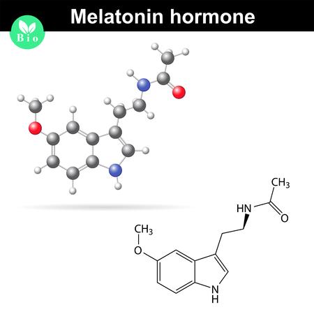regulator: Melatonin hormone molecule, regulator of daily rhythms, 2d and 3d illustration, vector isolated on white background