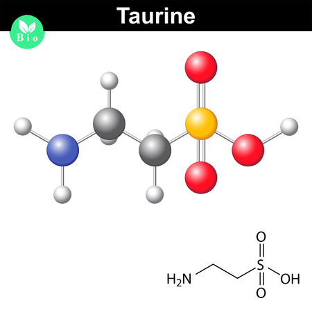 Taurine chemical formula and model, 2d and 3d illustration, vector on white background Illustration