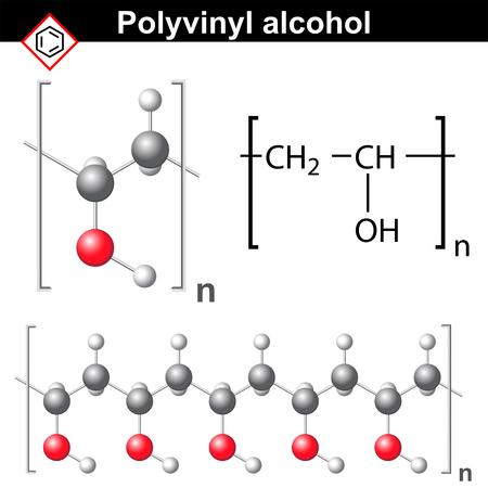ポリビニル アルコール樹脂の化学構造、2 d および 3 d 図では、白の背景にベクトル