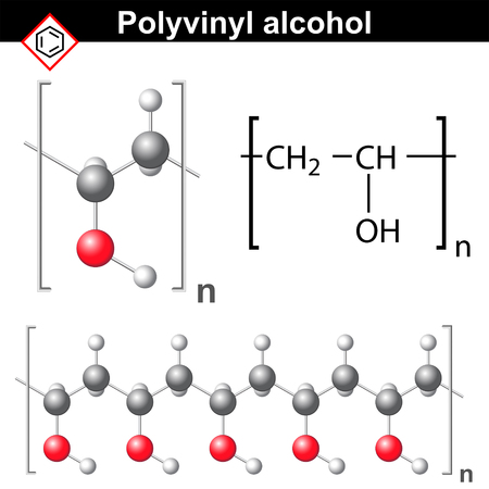 pva: Polyvinyl alcohol polymer chemical structure, 2d and 3d illustration, vector on white background