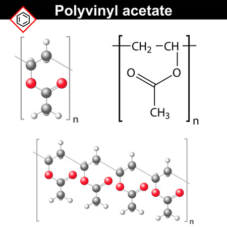 ether: Polyvinyl acetate polymer chemical structure, 2d and 3d illustration, vector on white background Illustration