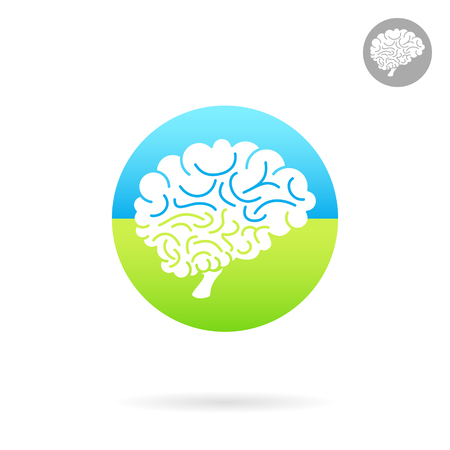 Medical icon of brain on colored round plate, side view, 2d vector icon, medical logo illustration