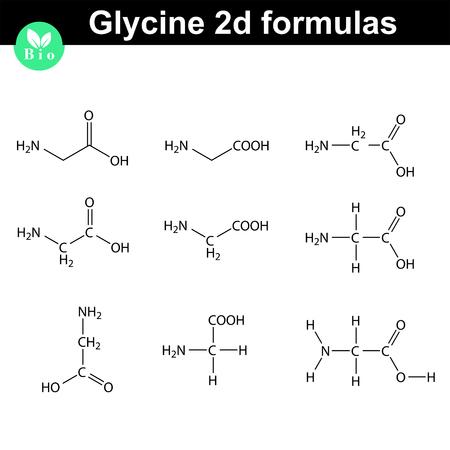 Glicina Fórmulas Químicas En 2d Dibujados En Diferentes Estilos Estructura Molecular Del Vector