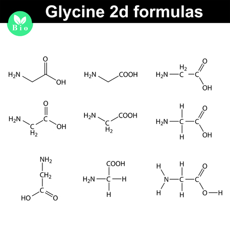Glycine 2d chemical formulas drawn in different styles, vector molecular structure