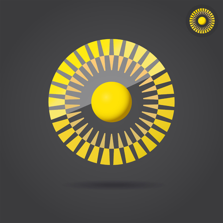 Abstract golden circle, connection icon, 2d vector illustration on dark background