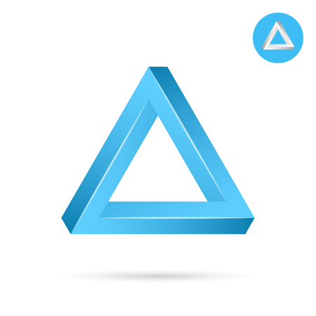 Delta letter icon, triangle shape, 3d vector illustration on white background