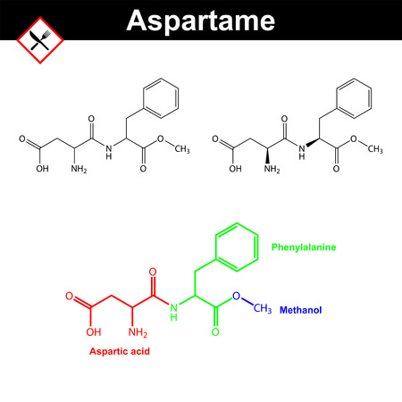 sugar metabolism: Aspartame - artificial sweetener, chemical formulas, E951 food additive, 2d vector illustration on white background