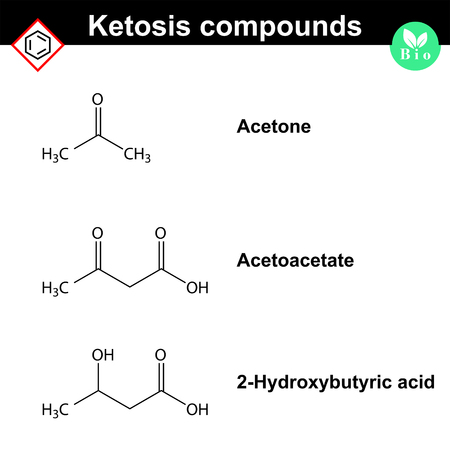 sugar metabolism: Ketone bodies - biological marker of diabetic disease, 2d vector chemical formulas, isolated on white background