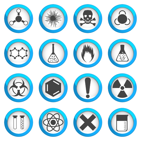 Chemical icons set on light round plates, 2d 16 vector signs, eps 10