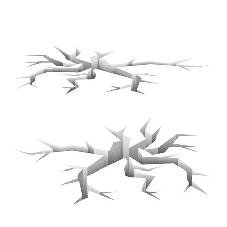 earthquake crack: Surface crack, earthquake hole concept, 3d illustration, vector on white background Illustration