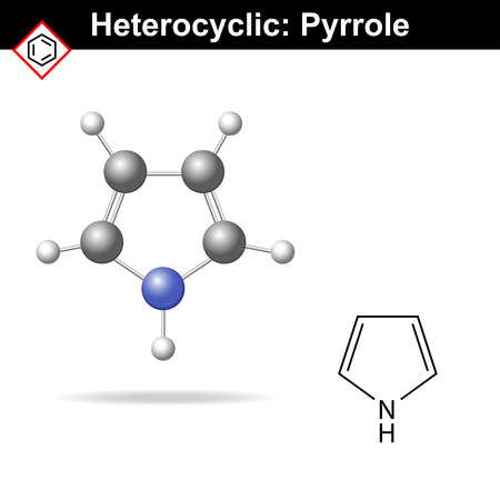 Pyrrole - five-membered organic heterocycle, structural chemical formula and pc model, 2d and 3d illustration