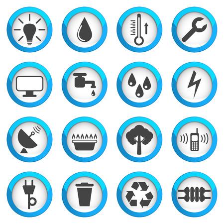 Dienstprogramme Icon-Set, 16 Zeichen, 2d Abbildungen auf blauen runden Pads Standard-Bild - 62920364