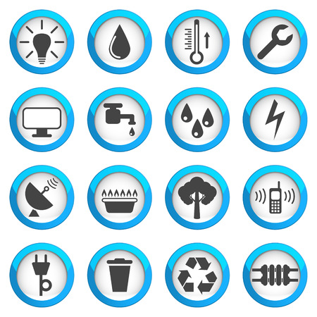 Utilities icon set, 16 signs, 2d illustrations on blue round pads Illustration