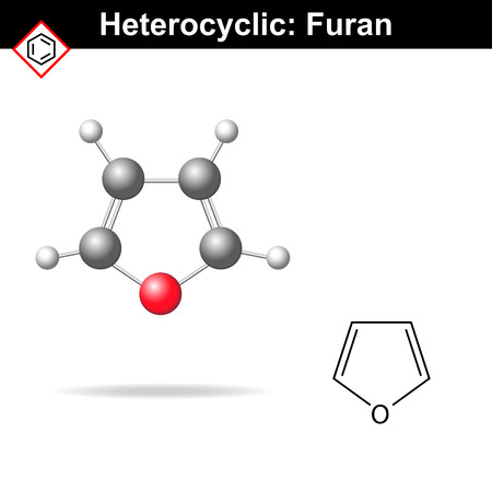 structural formula: Furan - five-membered organic heterocycle, structural chemical formula and model, 2d and 3d illustration, isolated on white background