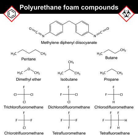 polyurethane: Polyurethane foam spray compounds, structural chemical formulas Illustration