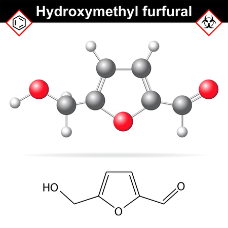 chemical structure: Hydroxymethylfurfural chemical structure and model, 2d and 3d illustration on white background, Illustration