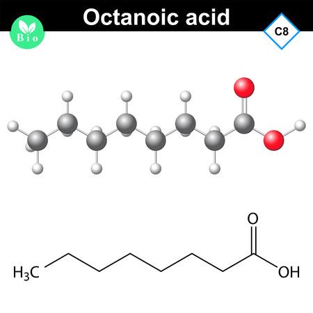 molécule d'acide caprylique - formule chimique et la structure moléculaire, illustration 2d et 3d, isolé sur fond blanc