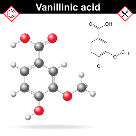 flavoring: Vanillic acid molecule flavoring agent, chemical formula and molecular structure, 2d and 3d illustration, isolated on white background Illustration