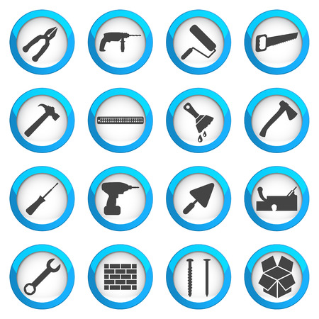 habiliment: Home repair and renovation icon set, building and construction concept, 16 signs on dark round buttons
