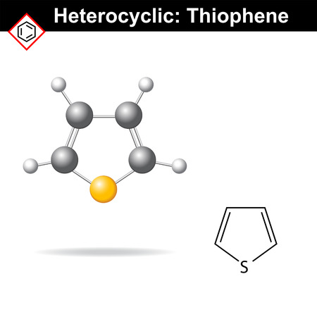 Thiophene five-membered heterocyclic ring, molecular structure, 2d and 3d vector illustration, isolated on white background Ilustração