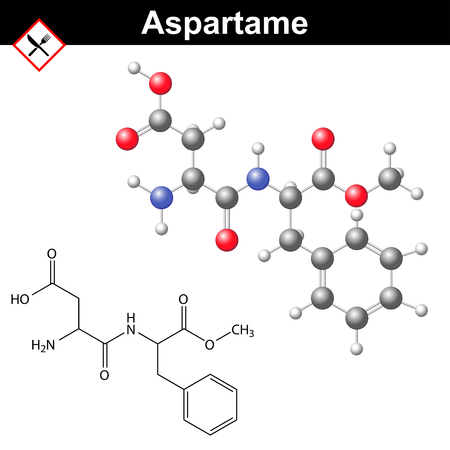 carcinogenic: Aspartame - artificial sweetener, chemical model and molecular structure, E951 food additive Illustration