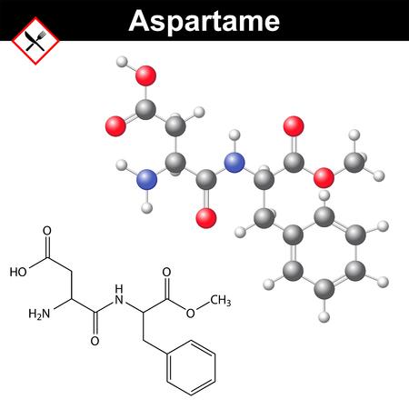 人工甘味料、化学モデルと分子構造、E951 食品添加物 - アスパルテーム